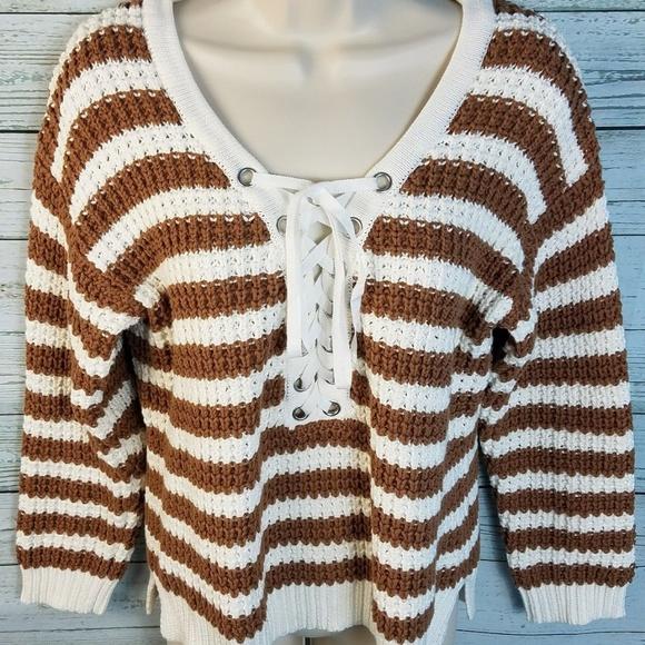 Boston Proper Sweaters - Boston Proper Brown White Lace-Up Striped Sweater f10804748